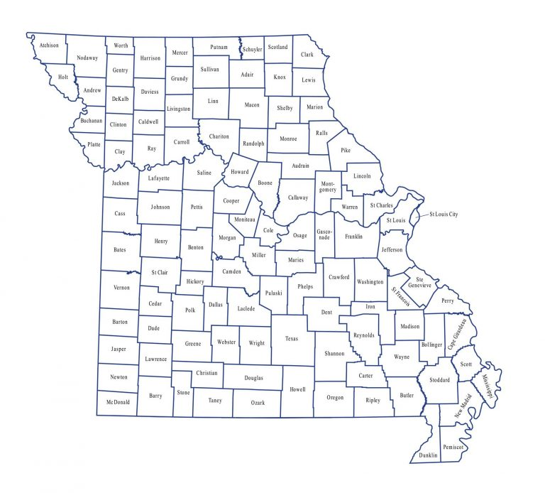 Missouri State Map with the counties labled